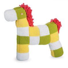 Large Checkered Crochet Stuffed Pony