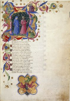 Yates Thompson 36 f. Historiated initial 'N' of Dante and Virgil in a dark wood, with four half-length figures representing Justice, Power, Peace and Temperance. Medieval Manuscript, Medieval Art, Medieval Books, Illuminated Letters, Illuminated Manuscript, Dante Alighieri, Book Of Kells, Library Catalog, British Library