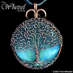 Green Orgone - Copper Tree of Life Pendant - Loop Leaves - Wire Wrap Jewelry by Tim Whetsel