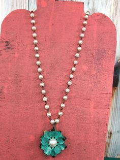 Pearl Strand With Turquoise Flower Necklace - NEK155PR