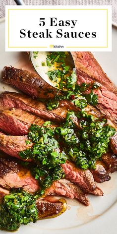 A guide to five quick and easy steak sauces — like garlic mushroom an smoky herb — that come together with just 3 ingredients. Cheese Sauce For Steak, Sauce Steak, Steak Sauce Recipes, Blue Cheese Sauce, Beef Recipes, Cooking Recipes, Healthy Recipes, Grilling Recipes, Pepper Sauce For Steak