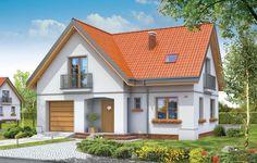 """Projekt domu jednorodzinnego przewidziany jest dla rodziny cztero-pięcioosobowej. Dom Elka to parterowy budynek z poddaszem użytkowym, z wbudowanym w bryłę garażem jednostanowiskowym. Dom ma rzut w kształcie litery """"L"""" i przykryty jest dwuspadowymi symetrycznymi dachami. Bryła budynku tworzy intymny zakątek tarasowy od strony ogrodu - częściowo zadaszony."""