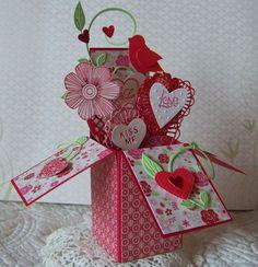 Nellies Nest   My friend Diane's version of the card in a box by Serene Stamper (http://www.serenestamper.com/2014/01/card-in-box-valentine.html)