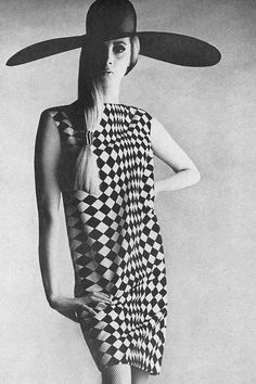 Wilhelmina in a diamond patterned dress by Charles Cooper, photo by Penn for Vogue, 1966