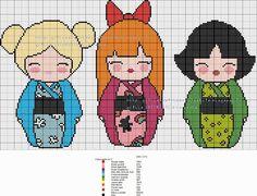 grilles point de croix et cie: Grille Kokeshi les Supers Nanas