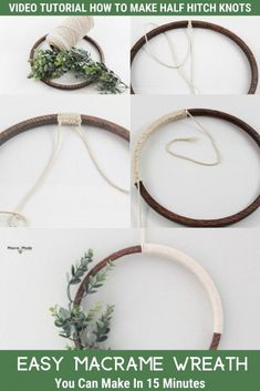 Diy Spring Wreath, Diy Wreath, Wreath Ideas, Macrame Supplies, Macrame Projects, Macrame Tutorial, Wreath Tutorial, Wooden Wreaths, Modern Wreath