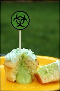 Bio-hazard cupcakes for a science party... I love this idea.