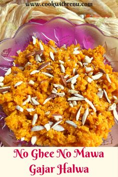No Ghee No Mawa Gajar Halwa is a delicious and traditional Indian Dessert or a pudding made using fresh carrots slowly cooked in milk, without ghee or mawa. . #GajarHalwa #Halwa #Sweet# IndianSweet… More Indian Desserts, Indian Sweets, North Indian Recipes, Indian Food Recipes, Meat Recipes, Vegetarian Recipes, Delicious Recipes, Carrot Pudding, Kids Meals