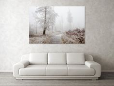 """Winter Path Art Print by Ren Kuljovska. Our art prints are produced on acid-free papers using archival inks to guarantee that they last a lifetime without fading or loss of color. All art prints include a 1"""" white border around the image to allow for future framing and matting, if desired.  #wallart #artdeco #homedeco #homedecor #artprint #artprints #wallartideas #print #giftidea #giftideas #canvasprint  #winterpath #winterromance #freezing day Thing 1, Nature Artists, Nature Artwork, Floral Pillows, Canvas Prints, Art Prints, Great Artists, Art For Sale, Painted Rocks"""