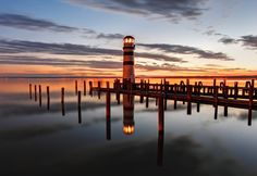 Lighthouse at Lake Neusiedl at night. Free art print of Lighthouse. Beautiful World, Beautiful Places, Twilight Sky, Boat Lights, Lighthouse Art, Free Art Prints, World View, Vacation Places, Color Of Life