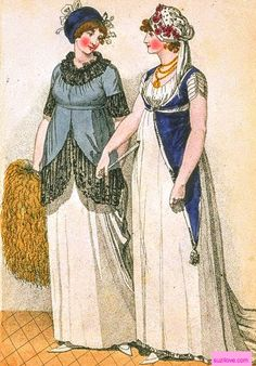 1800 March. London Full Dresses. Pale blue over bodice with black lace trimming and large furr muff. Royal blue tunic caught under bodice and interesting triangular ends with tassel and yellow necklace and fan. Fashions of London and Paris. suzilove.com