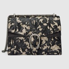Brand New Gucci Supreme Dionysus Arabesque Black Leather Shoulder Bag Gucci Shoulder Bag, Chain Shoulder Bag, Shoulder Handbags, Leather Shoulder Bag, Shoulder Bags, Kate Spade Handbags, Gucci Handbags, Gucci Bags, Leather Purses