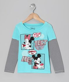 Take a look at this Aqua & Gray Minnie & Mickey Layered Tee by Disney on #zulily today!