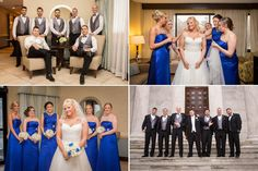 Royal blue and silver wedding party inspiration for winter