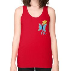 Blue Butterfly and Yellow Flower Unisex Fine Jersey Tank (on woman)