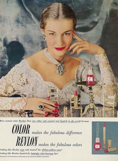 So very true, colour makes the fabulous difference! 1950 vintage makeup ad!