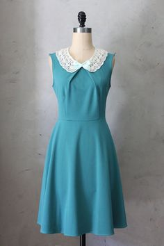 PRIM IN JADE - Teal blue green vintage inspired dress with lace bib necklace // mint green ribbon // bridesmaids // full flared skirt