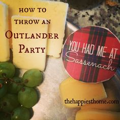 Bannocks! Whisky! Plaid! How to Throw an #Outlander Viewing Party, with hat tip to @professionalf for Jamie and Claire cutouts and food tags!