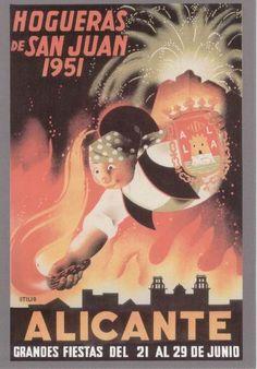 Cartel de Hogueras del año 1951 Alicante.