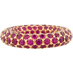 Fine Jewelry Ring Pre-owned 18K Pavé Ruby Band ($12,750) ❤ liked on Polyvore featuring jewelry, rings, band rings, ruby jewellery, round ring, pave ring and 18k jewelry