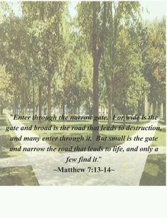One of my favorite quotes from the bible. Mathew 7:13-14