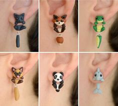 Animal earrings: Cat fox crocodile dog panda or dolphin. Select one single earring or a pair/set in quantity) Polymer Clay Kawaii, Polymer Clay Animals, Polymer Clay Charms, Polymer Clay Earrings, Animal Earrings, Cute Earrings, Animal Jewelry, Gold Earrings, Polymer Clay Projects