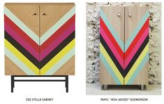 Recreation ofCB2's lovely Stella Cabinet(retail $399), using theIKEA GODMORGON 2-door wall cabinet in stained oak($99) and strips of PANYL DIY Furniture Wraps inRobin's Egg, Hot Pink, Red Hot, Ebony and Lemon Drop(roughly $35 value).→A $265 cost savings (with a little extra storage space thrown in for good measure) from the original CB2 piece.