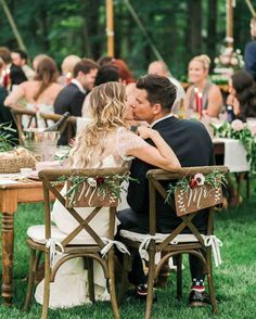 """"""" donned the newlyweds' chairs at the sweetheart table. Wedding Couples, Wedding Signs, Diy Wedding, Wedding Day, Wedding Dress, April Wedding, Woodland Wedding, Rustic Wedding, Wedding Stuff"""