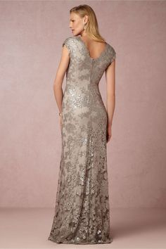 Silver beaded lace short sleeve gown for MOB Mob Dresses, Dresses For Sale, Formal Dresses, Wedding Dresses, Bride Dresses, Lace Dresses, Cap Sleeve Gown, Designer Evening Gowns, Mother Of The Bride Gown