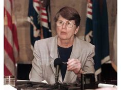 Former Attorney General Janet Reno is another famous former Girl Scout. Pictured at the Justice Department in Washington in 1996.