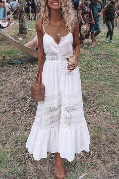 Depway V Neck Strap White A Sling Dresses