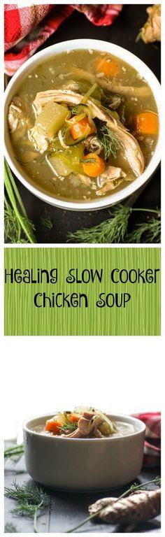 Healing Slow Cooker Chicken Soup #justeatrealfood #theresacookinmykitchen