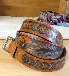 """SAMPLE Tooled Leather Belt Tattooed Grateful Dead """"The Wheel"""" on Etsy, $400.00"""