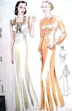 1930s BIAS Cut Nightgowns Lingerie Pattern SIMPLICITY S611 Two Slinky Styles  Bust 32 Vintage Sewing Pattern