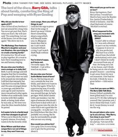 Barry Gibb Interview, Time magazine , May 19, 2014