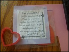 Playdough and cute printable poem for preschoolers V-day gift! I figured they didn't need more candy!