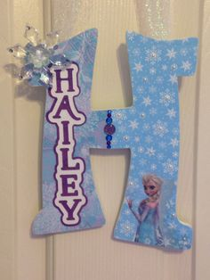 Your little lady will love this personalized hanging letter decorating her room! Frozen inspired! Makes a great Christmas gift! Letters are