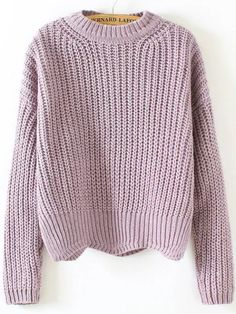 SheIn offers Purple Crew Neck Scalloped Hem Sweater & more to fit your fashionable needs. Source by patricia_labasro Ombre Sweater, Purple Sweater, Cute Casual Outfits, Fall Outfits, Cute Sweaters, Sweaters For Women, Crochet Top Outfit, Scalloped Hem, Knitwear
