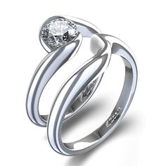 Half-Bezel Matching Wedding Set in Platinum - #weddingring