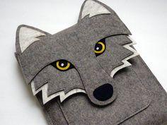 Wolf MacBook Air 11 inch sleeve - Gray felt - MADE TO ORDER. $85.00, via Etsy.