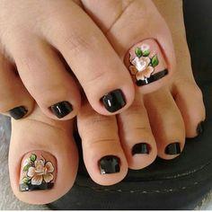 Pedicure Designs, Manicure E Pedicure, Toe Nail Designs, Pretty Toe Nails, Cute Toe Nails, Pretty Pedicures, Toe Nail Color, Toe Nail Art, Bright Summer Nails