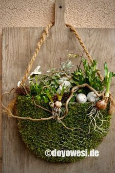Pflanztasche aus Hasendraht und Moos - Karin Urban - NaturalSTyle Plant bag made of rabbit wire and