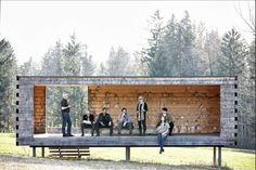 The client for the Moorraum is the municipality of Krumbach wanted a pavilion that would stand as a look-out spot for the landscape. Made of traditional timb...