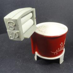 Retro Plastic Laundry Tub Salt & Pepper Shakers w Sugar Bowl from headsupvintage on Ruby Lane