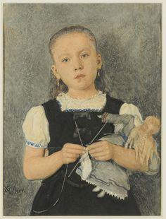 Girl Knitting / Fillette tricotant by by Xavier Mellery (Belgian Symbolist, 1845 -1921)