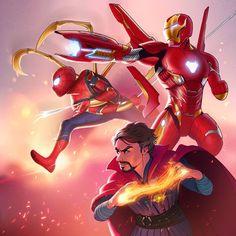 Marvel Iron Man, Spiderman and Doctor Strange- Illustration inspired by Infinity war Marvel Avengers, Marvel Vs Dc Comics, Heros Comics, Marvel Heroes, Captain Marvel, Captain America, Poster Marvel, Poster Superman, Posters Batman