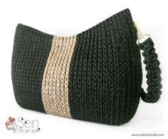Handmade crochet bag on canvas Bag Crochet, Crochet Shell Stitch, Crochet Clutch, Chunky Crochet, Crochet Handbags, Crochet Purses, Crochet Laptop Case, Handmade Tale, Baby Booties Knitting Pattern