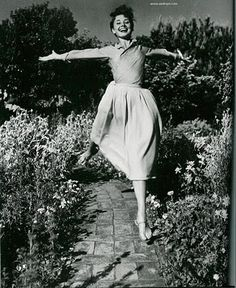 It's easy to look beautiful and joyful while jumping. And while being Audrey Hepburn.