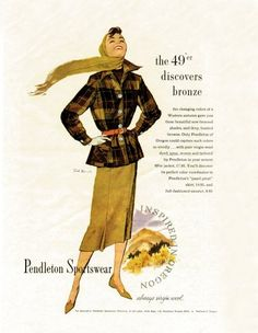 Pendleton 1940s. Love the look - the silhouette, and the colors!