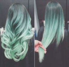 Black faded to light blue / teal hair